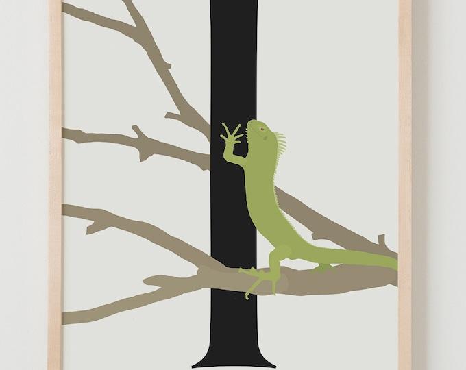 Animal Alphabet, I is for Iguana Fine Art Print