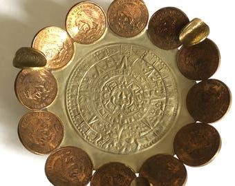 Vintage Myan Calendar Mexican Coin Ashtray