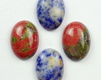 4 cabochons 25x18mm unakite and sodalite oval