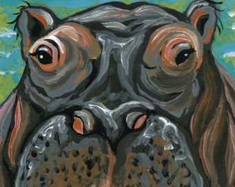 ACEO Hippopotamus Hippo Wildlife  Original Painting Art-Carla Smale
