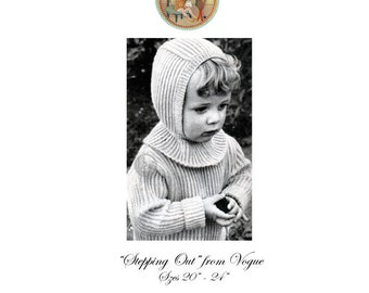 Toddler Sweater & Balaclava Ribbed Pullover Vintage Vogue Knitting Pattern  - Instant Download PDF - PrettyPatternsPlease