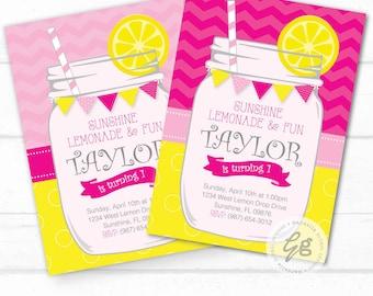 Lemonade Birthday Invitation, Lemonade Invitation, Lemonade Invite, Pink Lemonade, Lemonade Party, Lemonade Mason Jar, Sunshine invitation