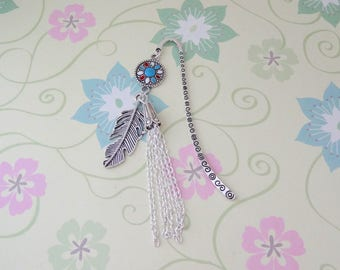 Silver Feather and Tassel Bookmark/Bookhook - Ready to Ship