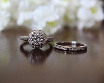 1 Carat Forever One Moissanite & Diamond Wedding Set - Bridal Set - Engagement Ring - For Women - Diamond Halo - Moissanite Wedding Sets