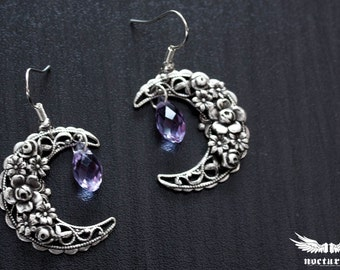 Crescent Moon Earrings with Purple Swarovski Crystals - Dangle Earrings - Romantic Earrings - Victorian Jewelry