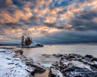 Lake Superior, Winter Landscape, Nature Photography, Cloudy Sky, North Shore Minnesota, Fine Art Print, Blue White Orange, Island, Peaceful