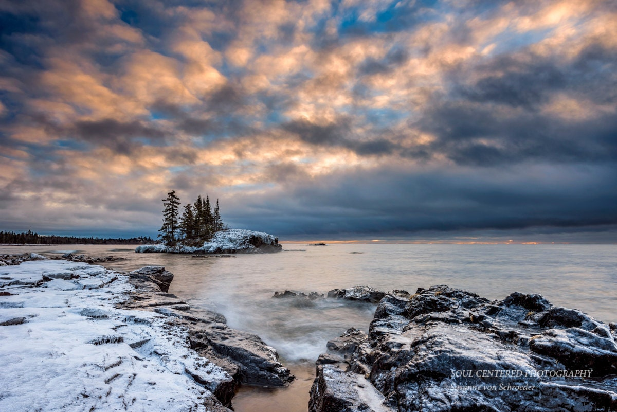 Lake Superior Winter Landscape Nature Photography Cloudy