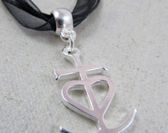 Necklace small cross camargue 24x18mm - 925 Silver finish - choose same color