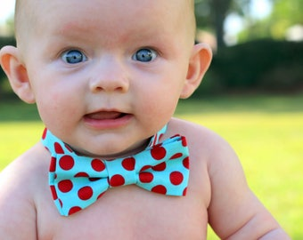 Boys blue red bow tie - blue cotton bowtie, first birthday tie, smash cake bow tie, red dot bow tie, kids bow tie, bow tie for baby, photo