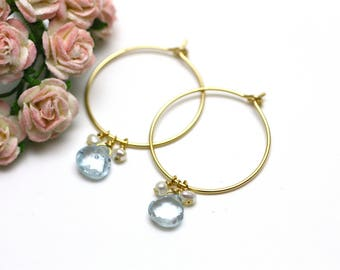 London Blue Topaz Gemstone and Pearl Gold Hoop Earrings   Minimal, Feminine, Bridal or Bridesmaid Jewelry   Gift for Woman   Made by Azki