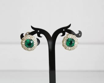 Small clip earrings with green stone and Rhinestones, Paris-' 30
