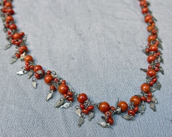 20s/30s Egyptian Revival Coral Bead and Silver Necklace - All Hand Made