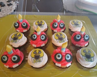 12 Fondant Five Nights at Freddy's Cupcake Toppers