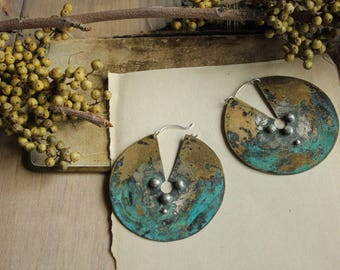 large round disc brass shield earrings with patina Nearly Lost Jewelry