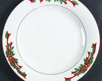 Poinsettias and Ribbons Dinner Plate