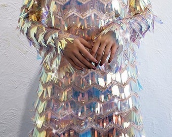 Holographic Sequin Dress in Shimmer or White