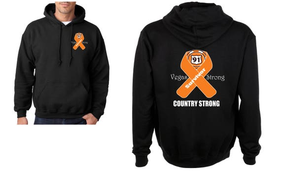 SURVIVOR Vegas Strong Route 91 Country Strong with orange Ribbon Heavy Blend Adult Hooded Sweatshirt Yml84rQMn