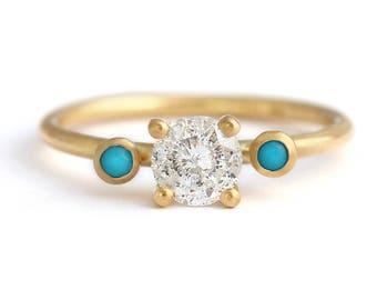 Salt and Pepper Diamond Engagement Ring, Turquoise Diamond Ring, Grey Engagement Ring, Three Stone Engagement Ring, Round Cut Diamond Ring