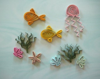Paper Quilled Under Water Sea Life Embellishment For Card Making and Scrapbooking