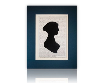 Choose Your Color, Double Matted Jane Austen Silhouette with Pride and Prejudice