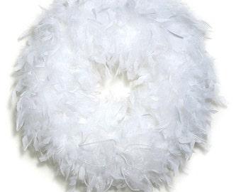 White Feather Wreath - Angel Wreaths
