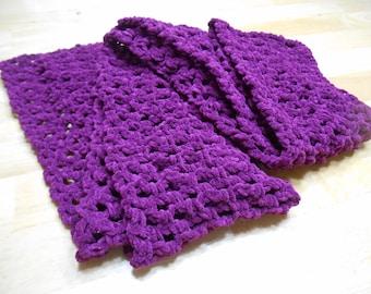 Soft burgundy hand-crocheted scarf