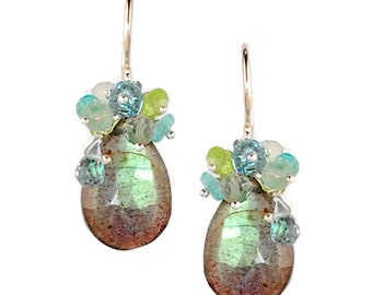 Labradorite Earrings with London Blue Topaz, Green Amethyst, Peridot and Apatite, Blue Topaz Earrings, 18K Labradorite Earrings 18K Earrings