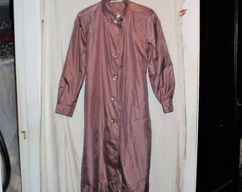 Vintage 90s Ladies Bronze Raincoat Nylon sz 12 Trenchcoat Calf Length Fleet Street