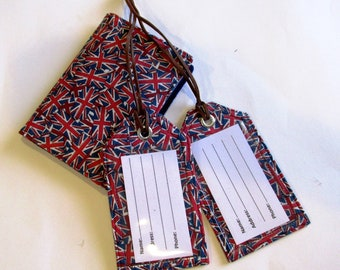 Matching handmade passport cover with two luggage tags - Union Jack flag - Ready to ship - Travel gift ideas - Unisex birthday gift