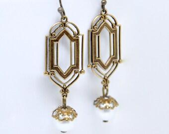 White Pearl Earrings, Art Deco Earrings, Antique Brass Filigree, Art Nouveau Earrings, Long Pearl Earrings, Victorian Style Bridal Jewelry