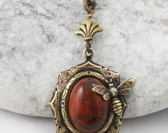 Brass Bee Red Jasper Pendant Necklace, Valentines Gift For Her, Mothers Day Gift For Her, Gift For Her.