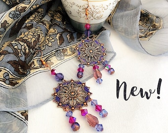 Moroccan earrings  exotic gypsy chandelier earrings, indigo blue fuschia bohemian jewelry, copper jewelry, niobium earrings