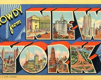 New York Large Letter Vintage Postcard (unused)