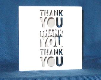 Hand Cut Thank You x3 Card