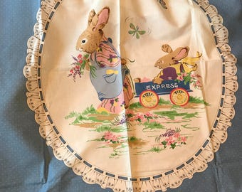 Vintage VIP Cranston Print Works Fabric Panel, PETER RABBIT ! Can Be A Pillow, Hang Panel In Frame in Nursery. Baby Newborn,Nursery