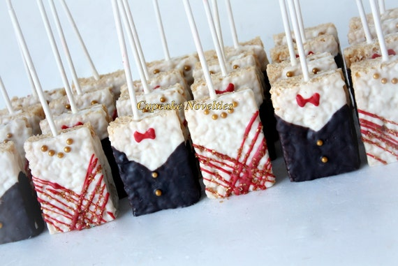 Edible wedding favors bride groom rice krispie treats 12 junglespirit Gallery