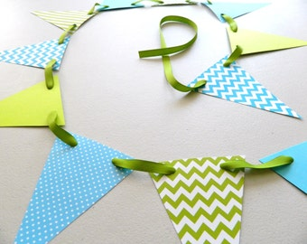 Lime AND Teal Baby shower decorations - Little Man Polka dot and Chevron paper Garland - Baby Shower Decor/ Birthday Decor