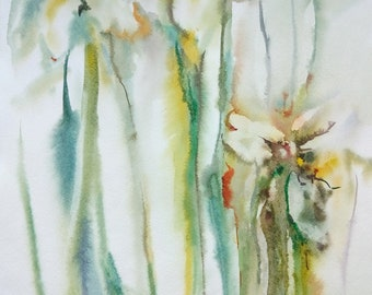 Original watercolor painting,flowers,Wall Art,Floral Fine Art,Daffodils Flower Art,Original Watercolour,nature floral spring yellow narcis