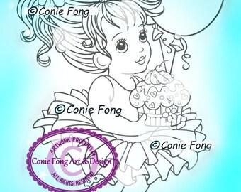 SALE Digital Stamp, Digi Stamp, digistamp, Abbie with Cake by Conie Fong, Birthday, girl holding cake, balloon, celebration, ballerina, tutu