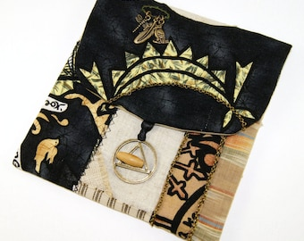 Recovery Pouch, Handmade Patchwork Bag for your 12 Step Recovery Prayer Beads, Cards or Booklets