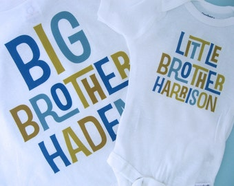 Big Brother Little Brother Shirt set of 2, Sibling Shirt, Personalized Tshirt with Blue and Golden Green Letters (01162012b)