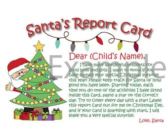 Personalized Santa report card letter (from Santa) - a good behavior activity for your child(ren)