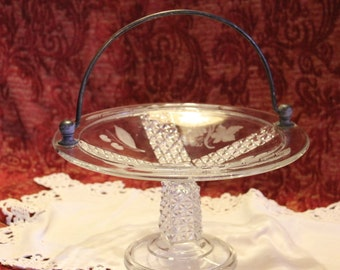 Circa 1880's EAPG Ripley Glass Co.  #10 Etched Mascotte Bridal / Wedding Cake Basket - Daisy and Button