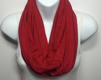 Red knit infinity scarf - discount