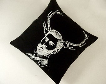 Handsome bearded buck silk screened cotton canvas throw pillow 18 inch black white