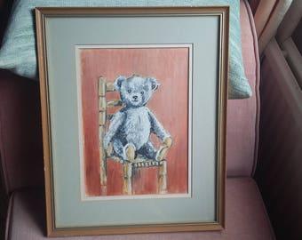 Original Oil Painting of Teddy Bear on a Chair