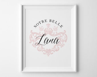 Children's Art, Personalized Nursery Decor, French Nursery Decor, Pink Girls Room Decor, Notre Belle, Our Beautiful, Pink Shabby Chic Decor