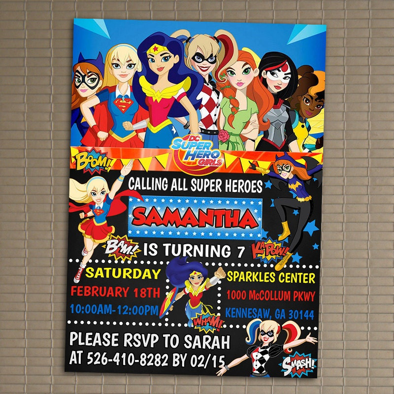 DC Superhero Girls Invitation You Print Invitation DC