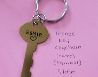 """Hand-Stamped Customized """"Key To My Heart"""" Keychain"""
