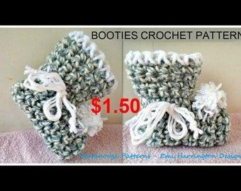 CROCHET PATTERN, Baby Booties, Newborn - 3 months, 3-6 months, 6 - 12 months, 3 sizes, Basic beginner easy booties, #903